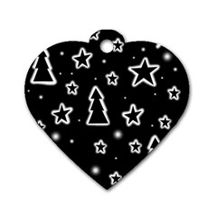 Black and white Xmas Dog Tag Heart (Two Sides)