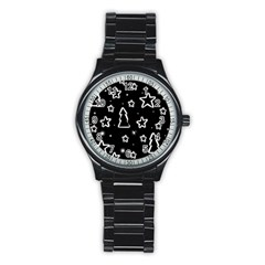 Black and white Xmas Stainless Steel Round Watch