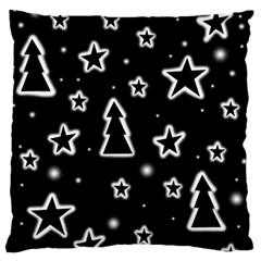 Black and white Xmas Large Flano Cushion Case (Two Sides)