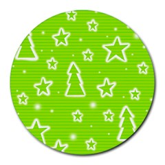 Green Christmas Round Mousepads