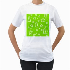 Green Christmas Women s T-Shirt (White) (Two Sided)