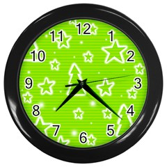 Green Christmas Wall Clocks (Black)
