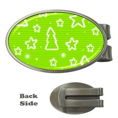 Green Christmas Money Clips (Oval)