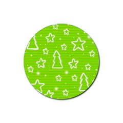 Green Christmas Rubber Round Coaster (4 pack)