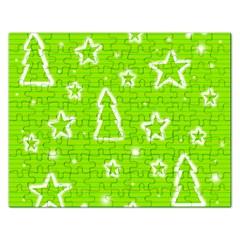 Green Christmas Rectangular Jigsaw Puzzl