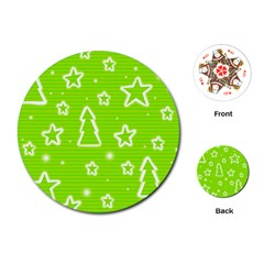 Green Christmas Playing Cards (Round)