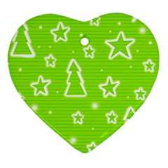 Green Christmas Heart Ornament (2 Sides)
