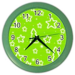 Green Christmas Color Wall Clocks
