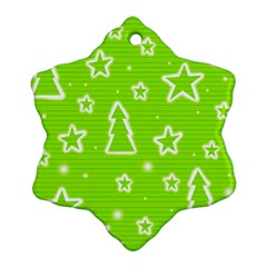Green Christmas Snowflake Ornament (2-Side)