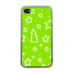 Green Christmas Apple iPhone 4 Case (Clear)