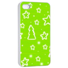 Green Christmas Apple iPhone 4/4s Seamless Case (White)