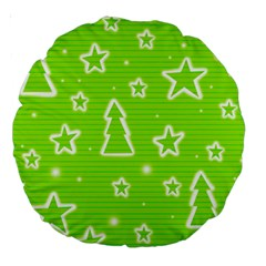 Green Christmas Large 18  Premium Round Cushions