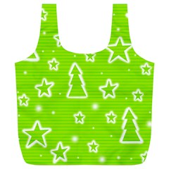 Green Christmas Full Print Recycle Bags (L)