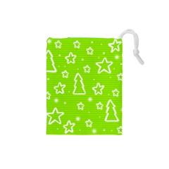 Green Christmas Drawstring Pouches (Small)
