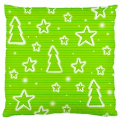 Green Christmas Large Flano Cushion Case (One Side)