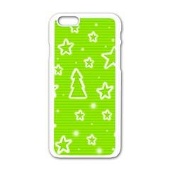 Green Christmas Apple iPhone 6/6S White Enamel Case