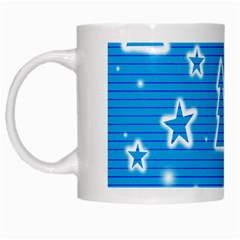 Blue decorative Xmas design White Mugs