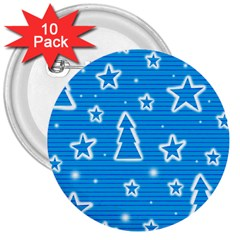 Blue decorative Xmas design 3  Buttons (10 pack)