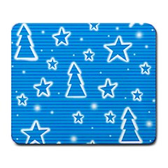 Blue decorative Xmas design Large Mousepads