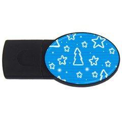 Blue decorative Xmas design USB Flash Drive Oval (1 GB)