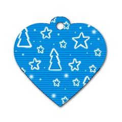 Blue decorative Xmas design Dog Tag Heart (Two Sides)