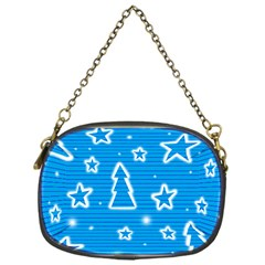 Blue decorative Xmas design Chain Purses (One Side)