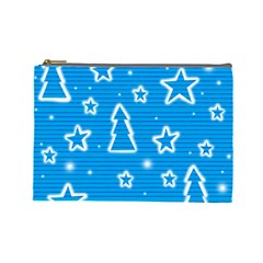Blue decorative Xmas design Cosmetic Bag (Large)