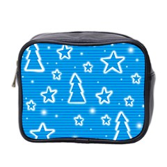 Blue decorative Xmas design Mini Toiletries Bag 2-Side