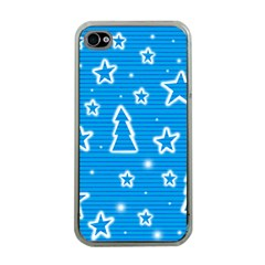 Blue decorative Xmas design Apple iPhone 4 Case (Clear)