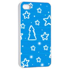 Blue decorative Xmas design Apple iPhone 4/4s Seamless Case (White)