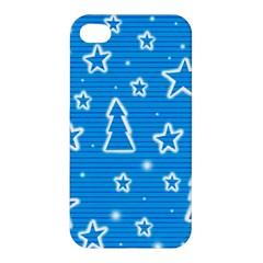 Blue decorative Xmas design Apple iPhone 4/4S Hardshell Case