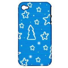 Blue decorative Xmas design Apple iPhone 4/4S Hardshell Case (PC+Silicone)