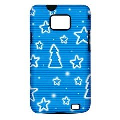 Blue decorative Xmas design Samsung Galaxy S II i9100 Hardshell Case (PC+Silicone)
