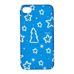 Blue decorative Xmas design Apple iPhone 4/4S Hardshell Case with Stand