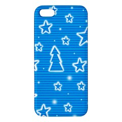 Blue decorative Xmas design iPhone 5S/ SE Premium Hardshell Case