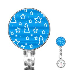 Blue decorative Xmas design Stainless Steel Nurses Watch