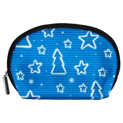 Blue decorative Xmas design Accessory Pouches (Large)