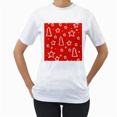 Red Xmas Women s T-Shirt (White) (Two Sided)