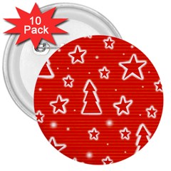 Red Xmas 3  Buttons (10 pack)