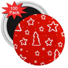 Red Xmas 3  Magnets (100 pack)