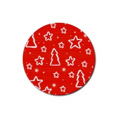 Red Xmas Rubber Round Coaster (4 pack)