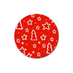 Red Xmas Magnet 3  (Round)