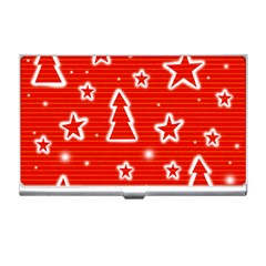 Red Xmas Business Card Holders