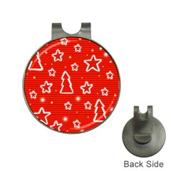Red Xmas Hat Clips with Golf Markers