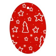 Red Xmas Oval Ornament (Two Sides)