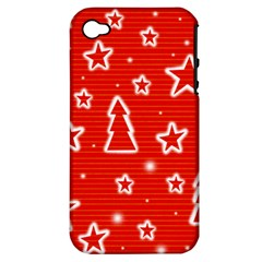 Red Xmas Apple iPhone 4/4S Hardshell Case (PC+Silicone)