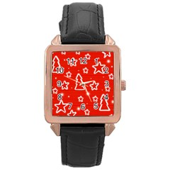 Red Xmas Rose Gold Leather Watch