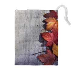 Fall Leaves Drawstring Pouch (XL)