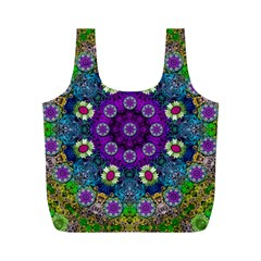 Colors And Flowers In A Mandala Full Print Recycle Bags (m)