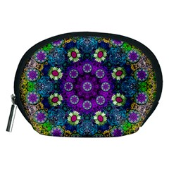 Colors And Flowers In A Mandala Accessory Pouches (medium)